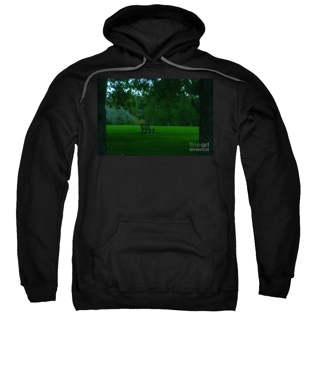 Autumn. Bench Sweatshirt featuring the photograph A Lonely Autumn Bench by Jeff Swan