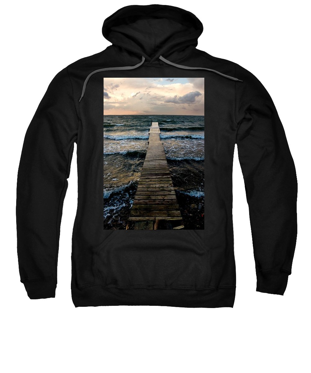 Buffalo Lake Sweatshirt featuring the photograph A Pier In The Water by Nathan Lau