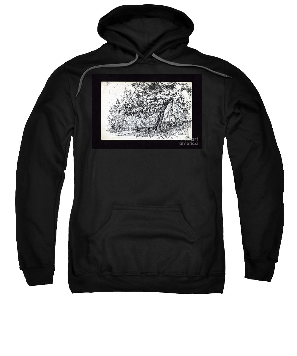 Park Scene Sweatshirt featuring the drawing A Quiet Corner 1958 by John Chatterley
