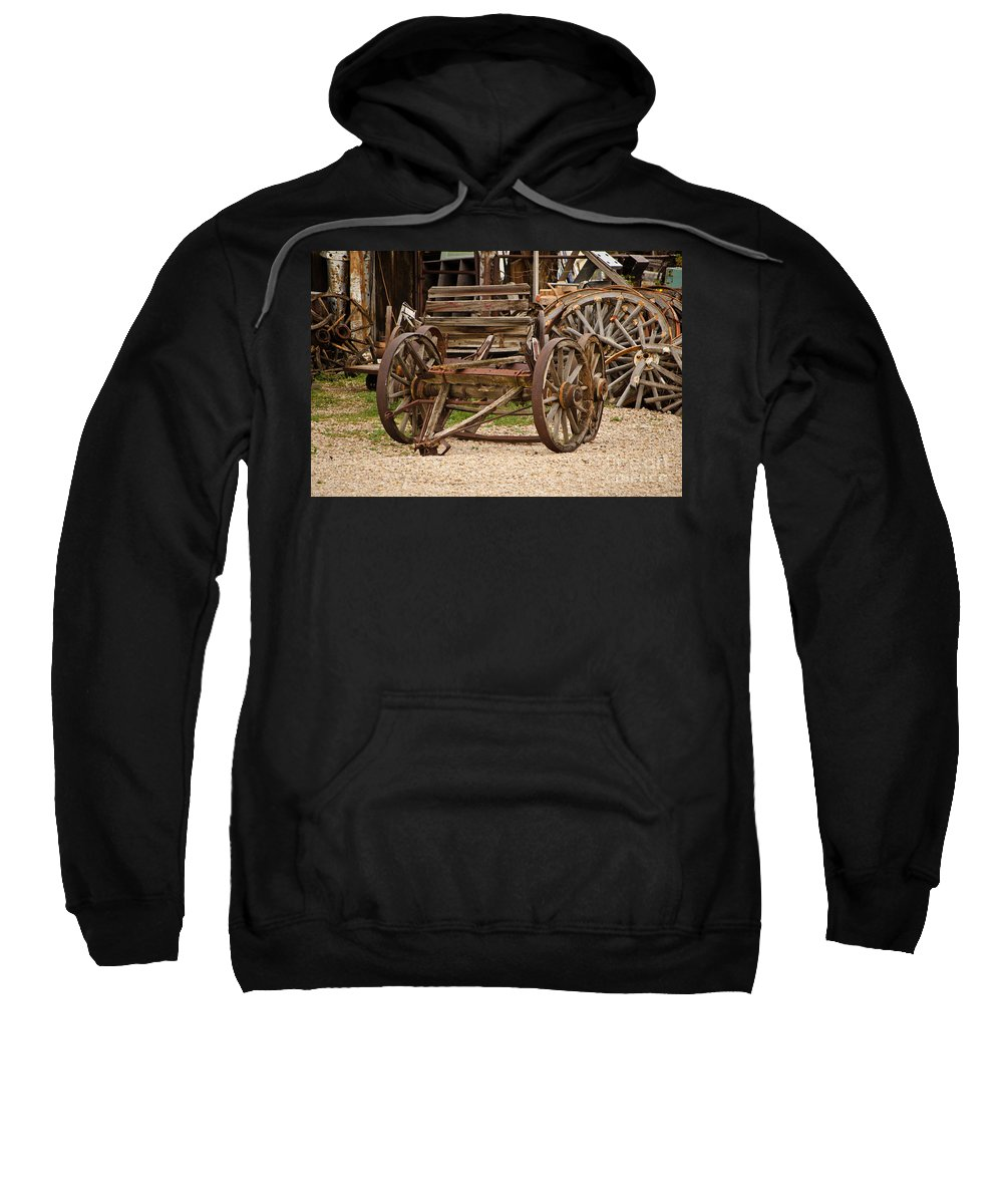 Fine Art Sweatshirt featuring the photograph A Wagon And Wheels by Donna Greene