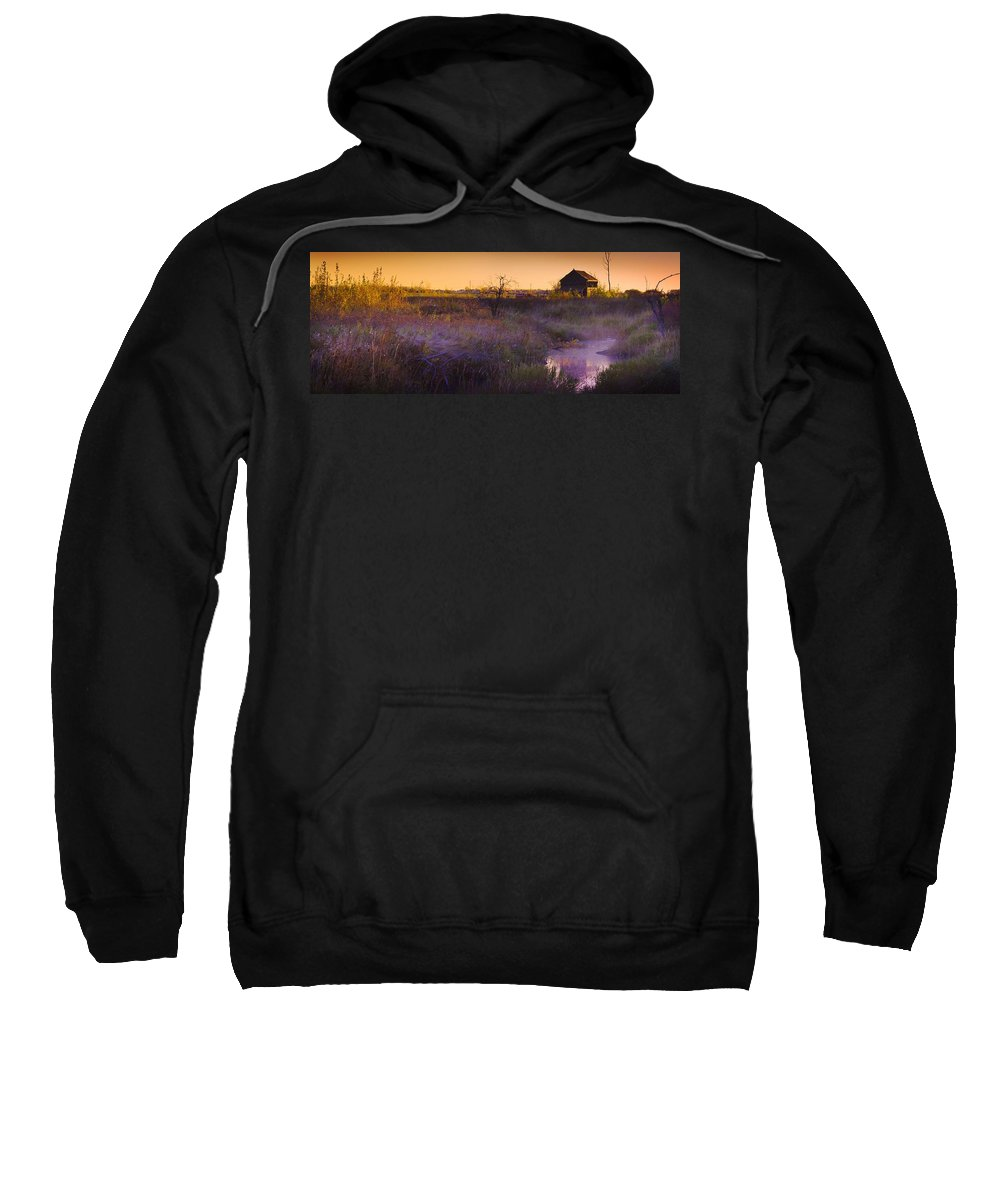 View Sweatshirt featuring the photograph Abandoned Shack At Sunset Near A Creek by Corey Hochachka