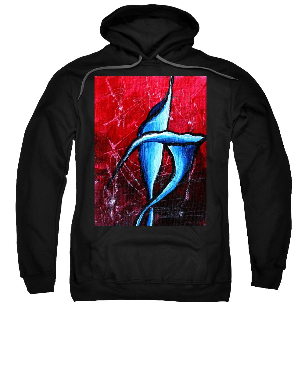 Abstract Sweatshirt featuring the painting Abstract Calla Lilly Textured Painting Greeting Lillies By Madart by Megan Duncanson