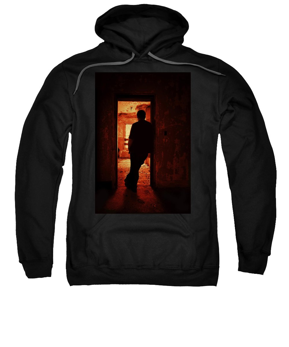 Male Sweatshirt featuring the photograph Alone In The Endzone by Evelina Kremsdorf