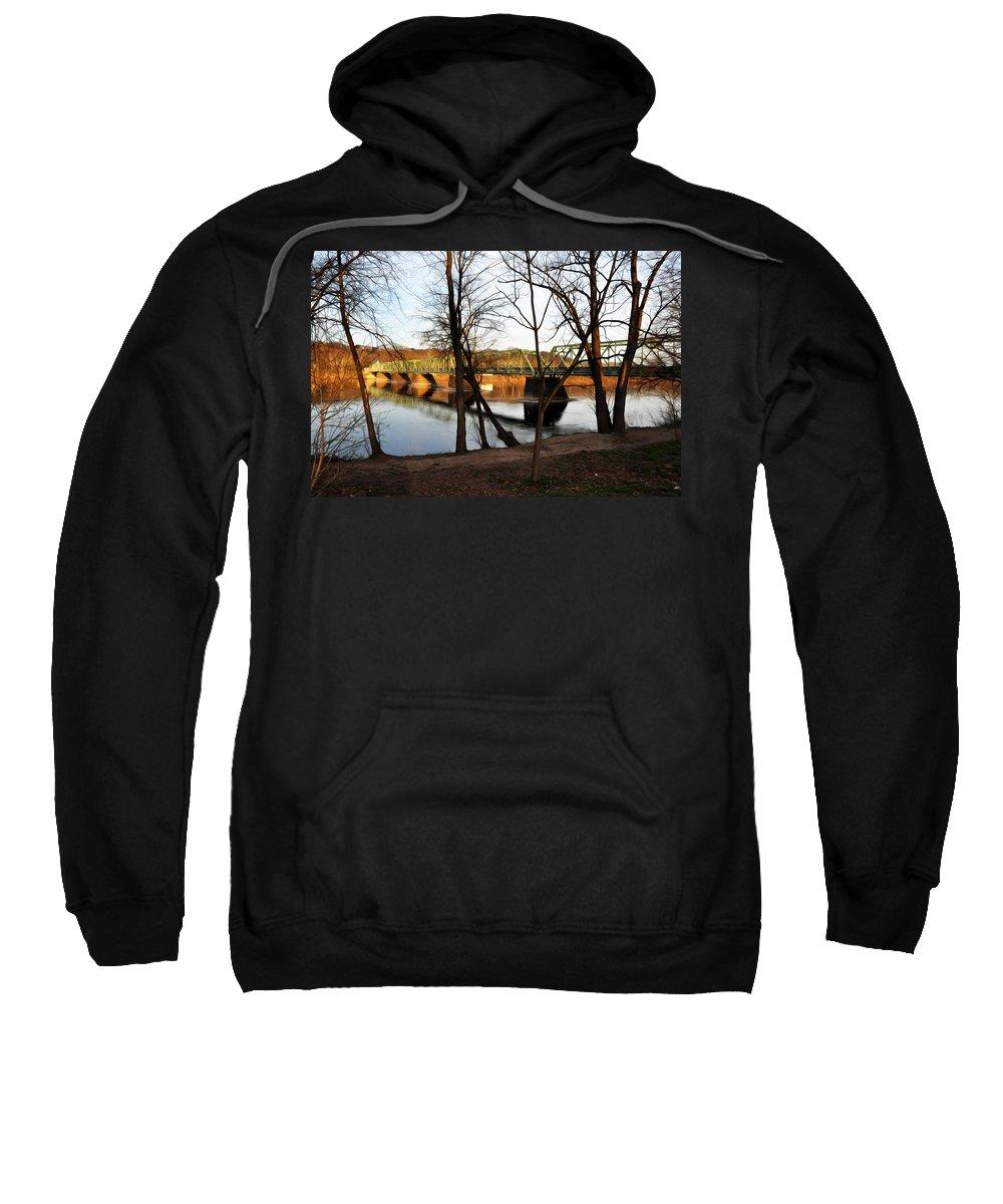 Alongside The Uhlerstown Frenchtown Bridge Sweatshirt featuring the photograph Alongside The Uhlerstown Frenchtown Bridge by Bill Cannon