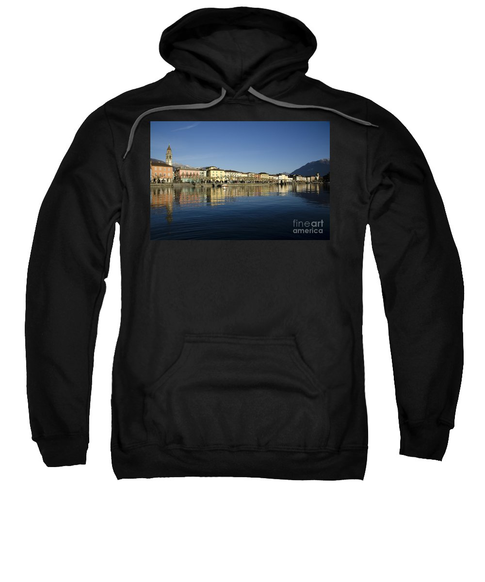 Village Sweatshirt featuring the photograph Alpine Village Reflected In The Water by Mats Silvan
