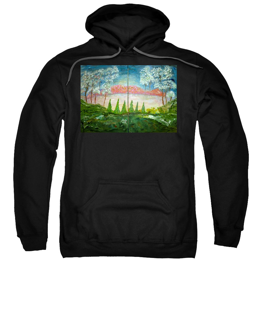 Whimsical Scene Sweatshirt featuring the painting Amazing Gaze by Sara Credito