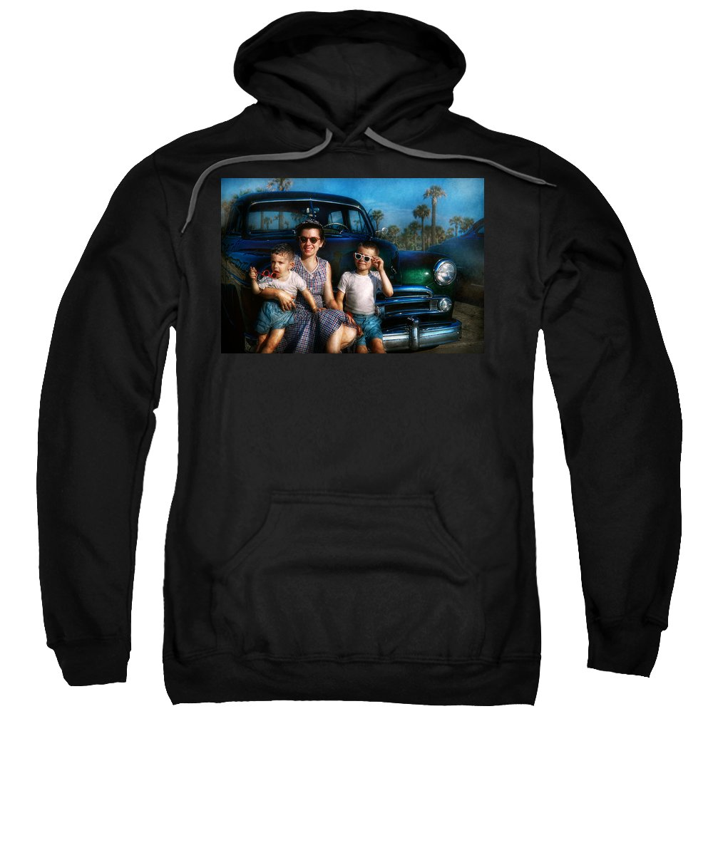 Americana Sweatshirt featuring the photograph Americana - Car - The Classic American Vacation by Mike Savad