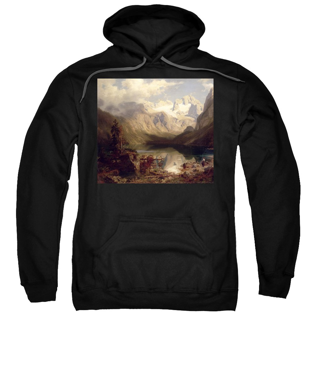 An Extensive Alpine Lake Landscape Sweatshirt featuring the painting An Extensive Alpine Lake Landscape by Augustus Wilhelm Leu
