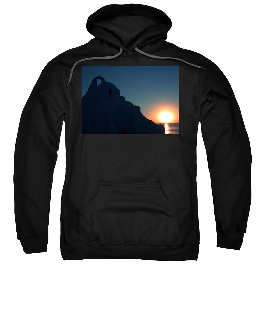 Colette Sweatshirt featuring the photograph Ancient Old Chapel Mykonos Island Sunset  Greece by Colette V Hera Guggenheim