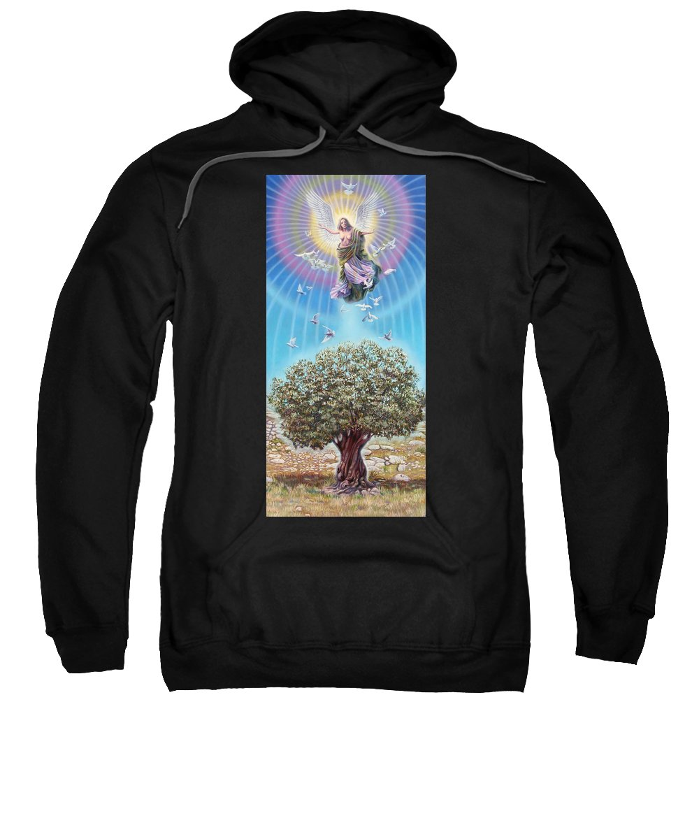 Olive Sweatshirt featuring the painting Angel over the olive tree by Miguel Tio