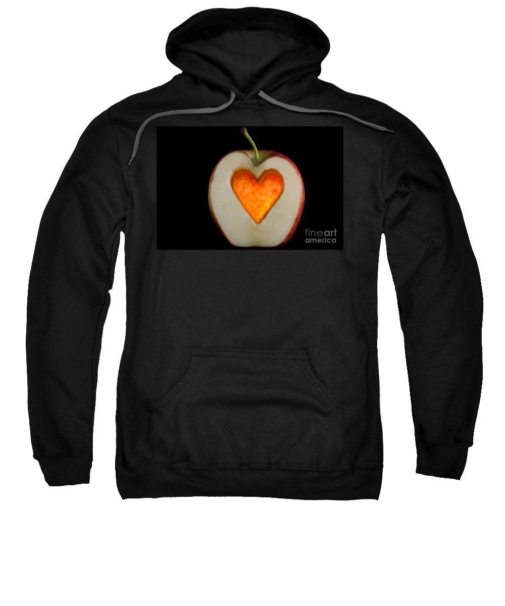 Apple Sweatshirt featuring the photograph Apple With A Heart by Mats Silvan