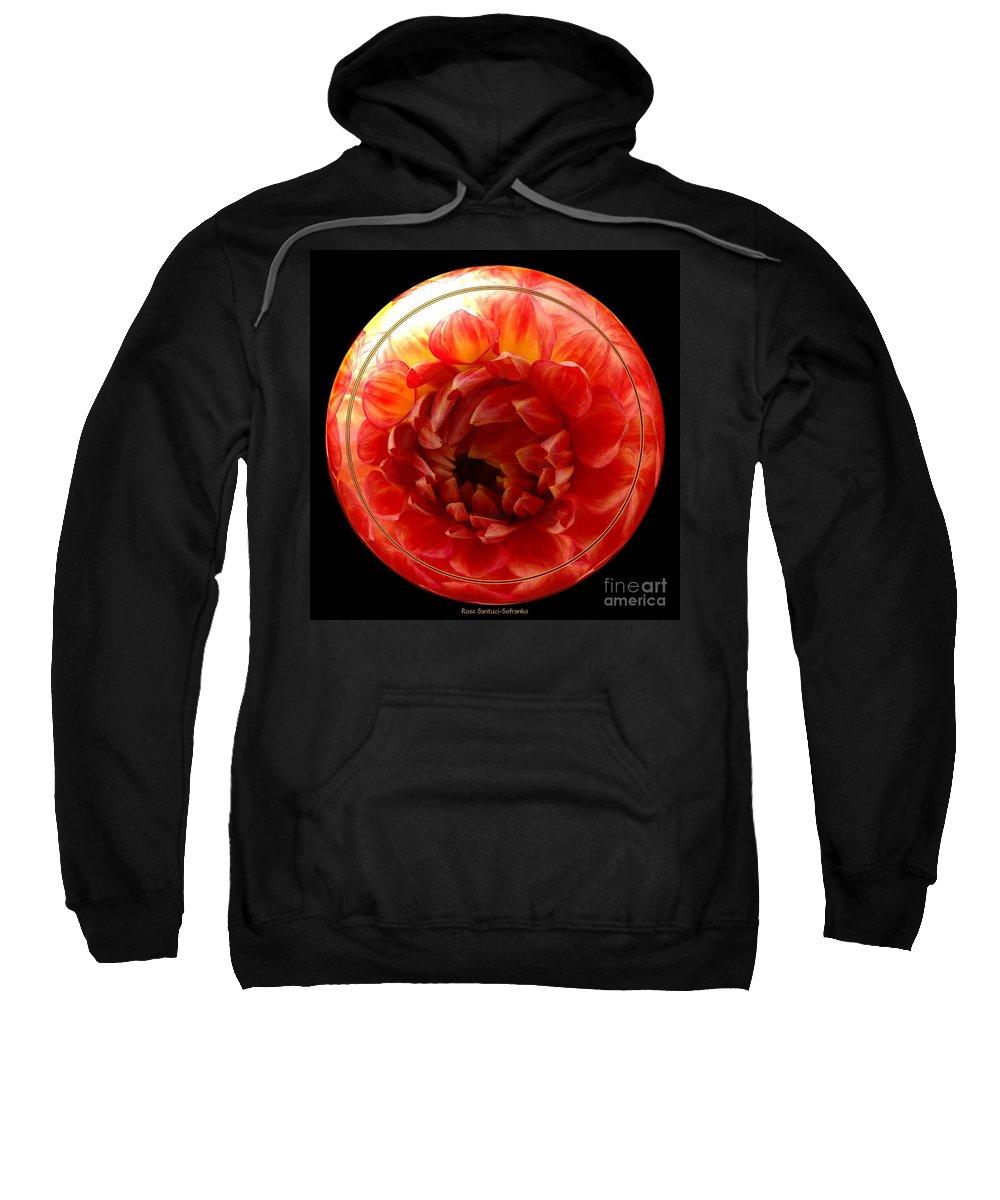 Dahlia Sweatshirt featuring the photograph Apricot Orange Dahlia Under Glass by Rose Santuci-Sofranko