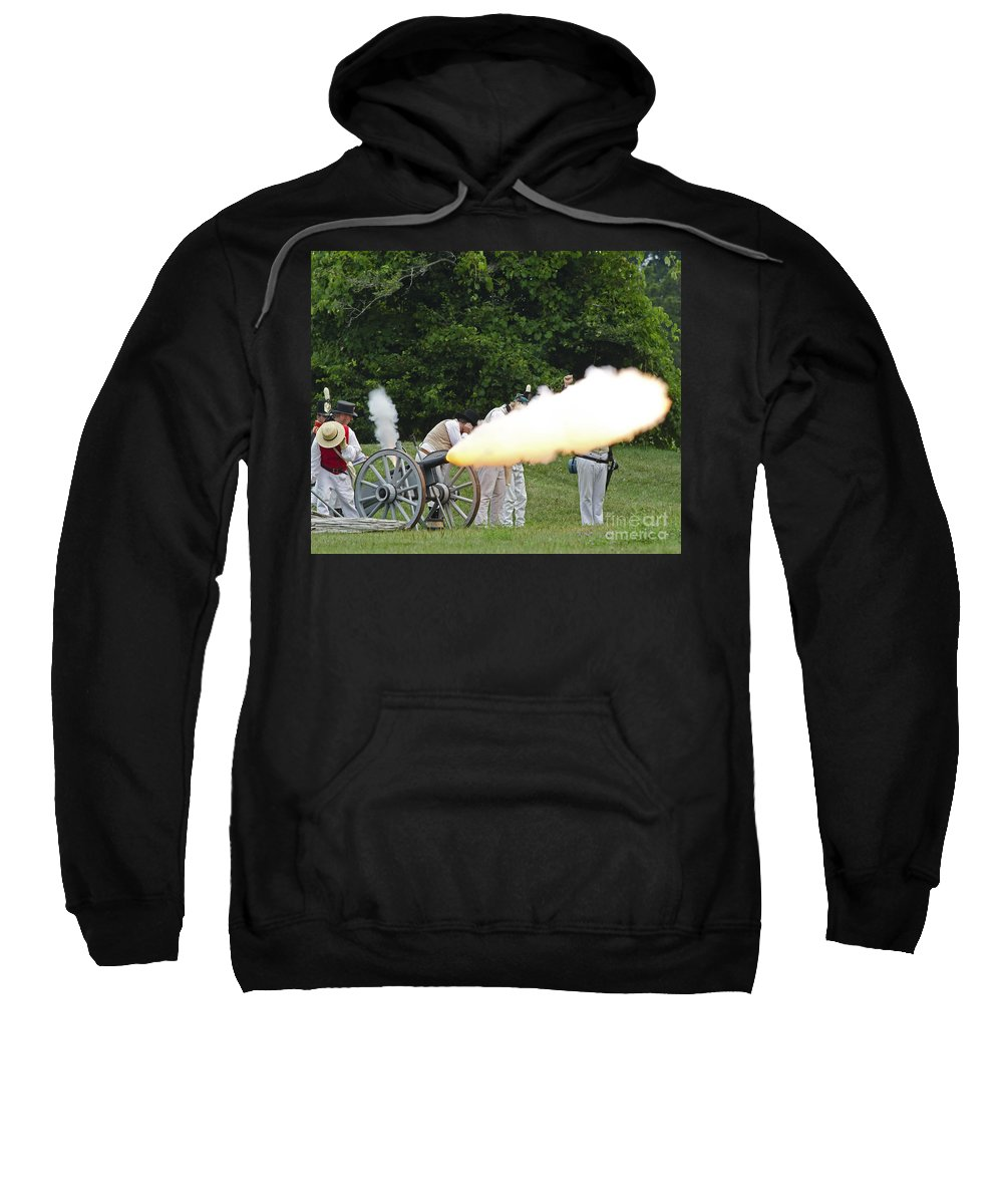 War Of 1812 Sweatshirt featuring the photograph Artillery Demonstration by JT Lewis