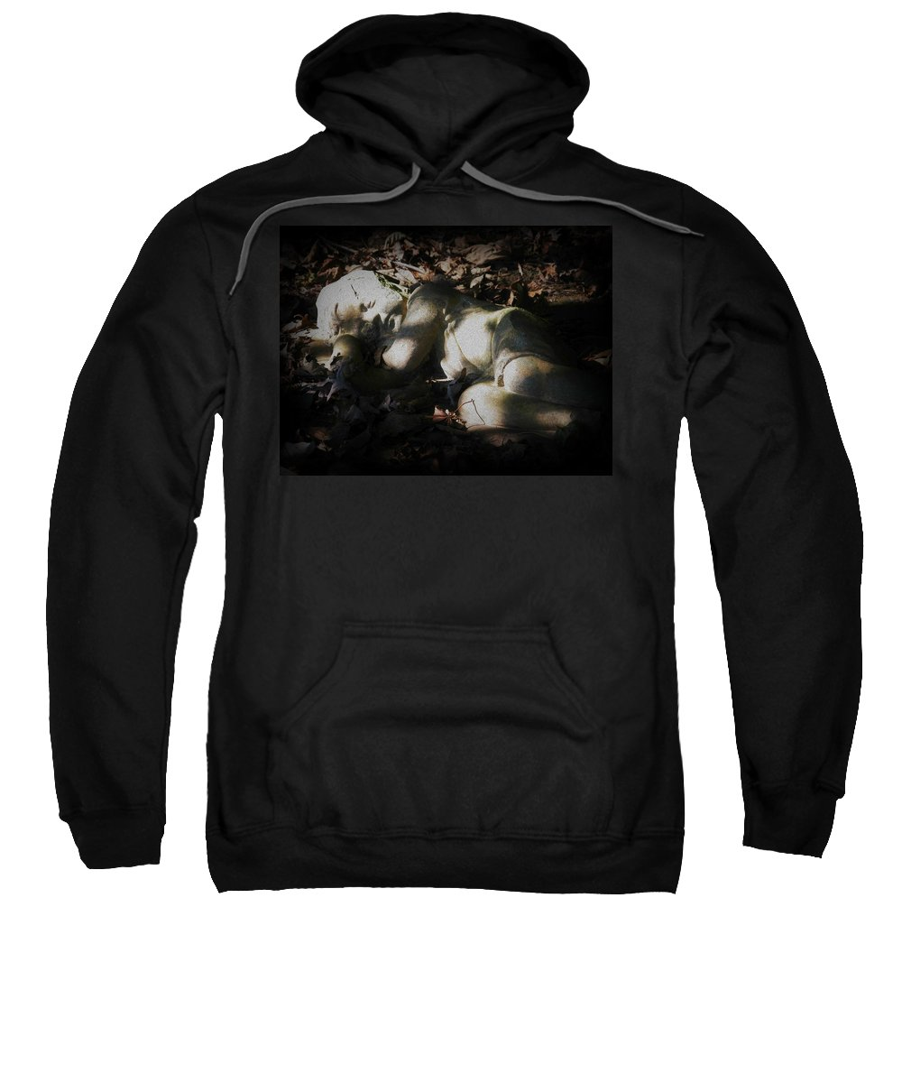 Statue Sweatshirt featuring the photograph Asleep In The Leaves by Michele Nelson