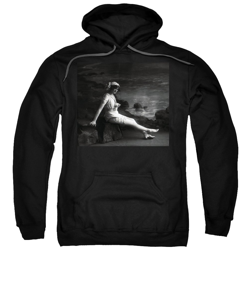 Young Woman Girl Female Lady Sexy Erotic Vintage Photograph Beach Coast Sweatshirt featuring the photograph At The Beach by Steve K