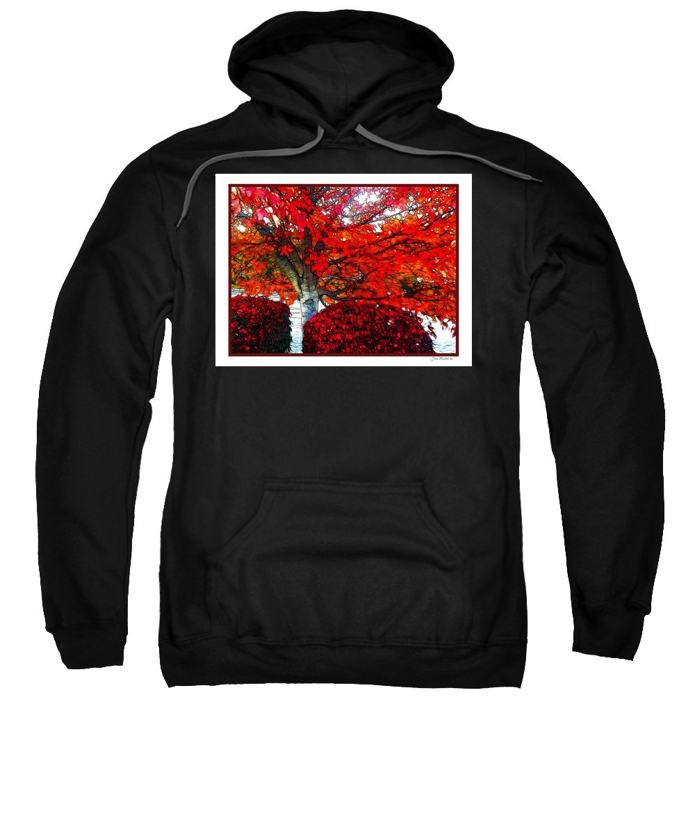 Autumn Sweatshirt featuring the photograph Autumn And The Red Tree by Joan Minchak