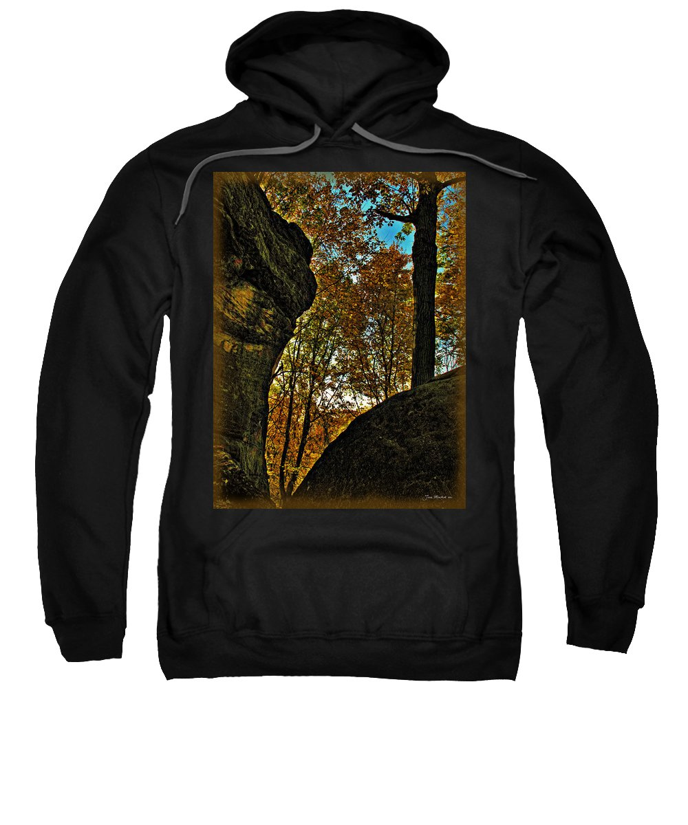 Autumn Sweatshirt featuring the photograph Autumn At Whipps Ledges Trail by Joan Minchak