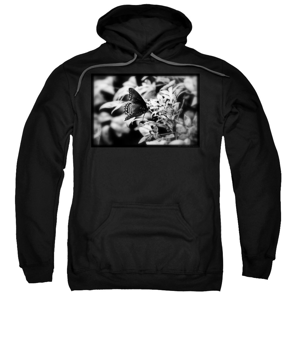 Black And White Sweatshirt featuring the photograph B N W Butterfly by Sheri Bartoszek
