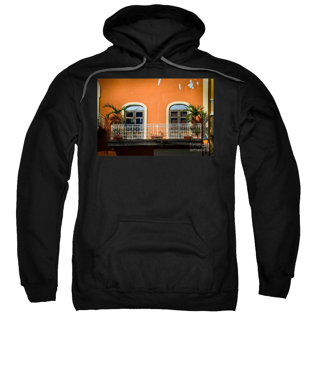 Window Sweatshirt featuring the photograph Balcony With Palms by Perry Webster