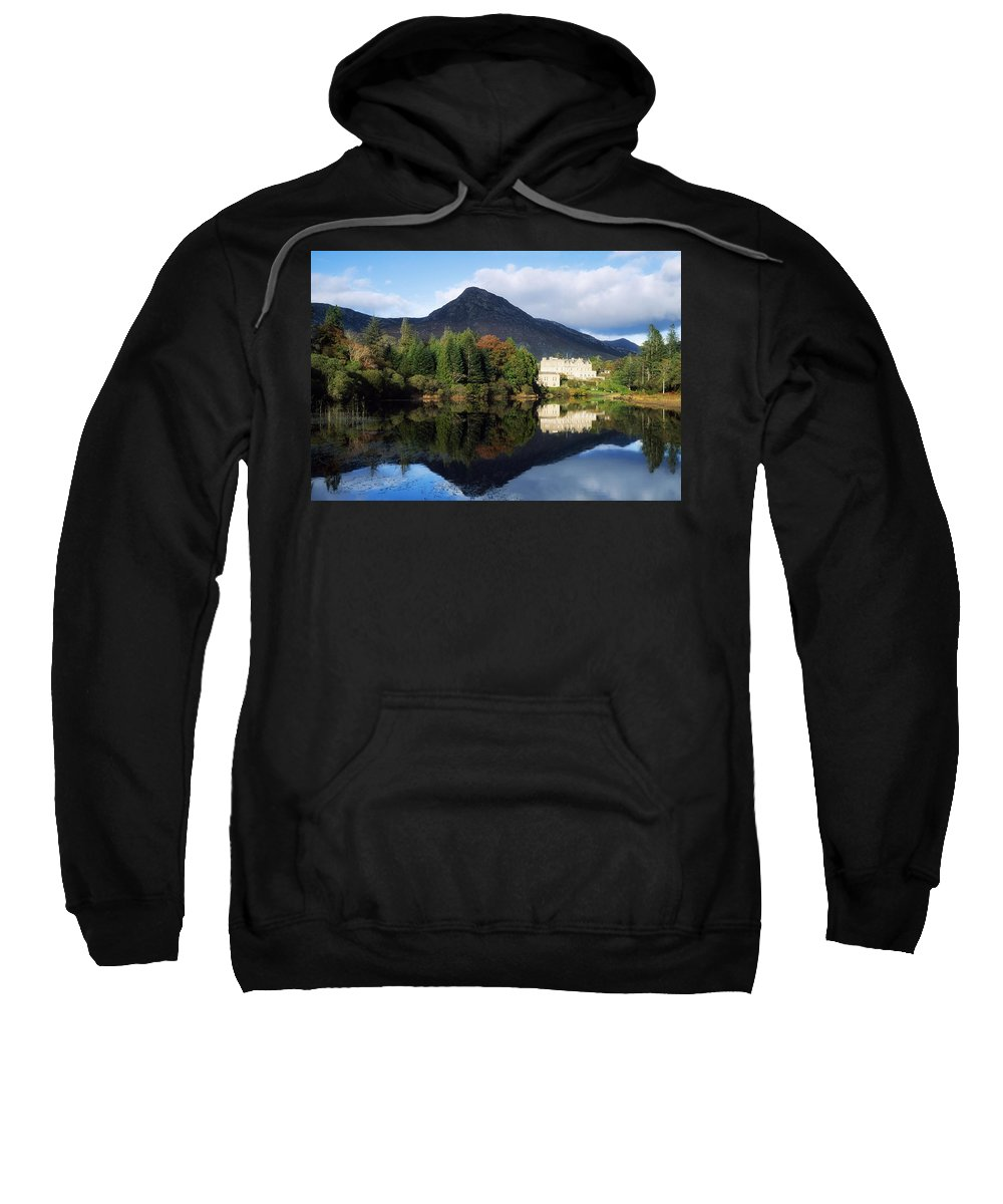 Autumn Sweatshirt featuring the photograph Ballynahinch Castle Hotel, Twelve Bens by The Irish Image Collection