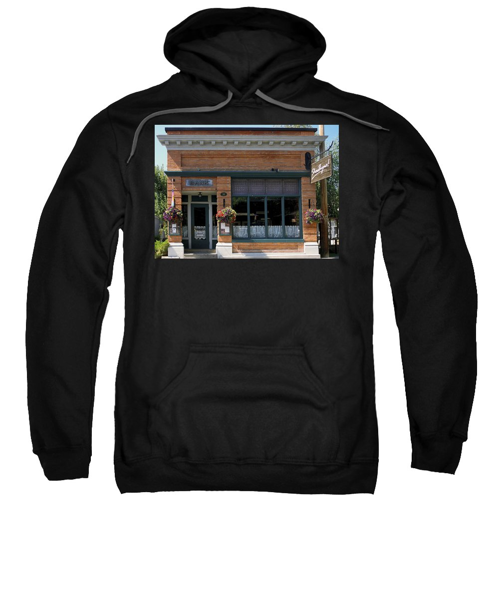 Historic Brick Bank Building Now Restaurant Sweatshirt featuring the photograph Bank Now Restaurant by Sally Weigand