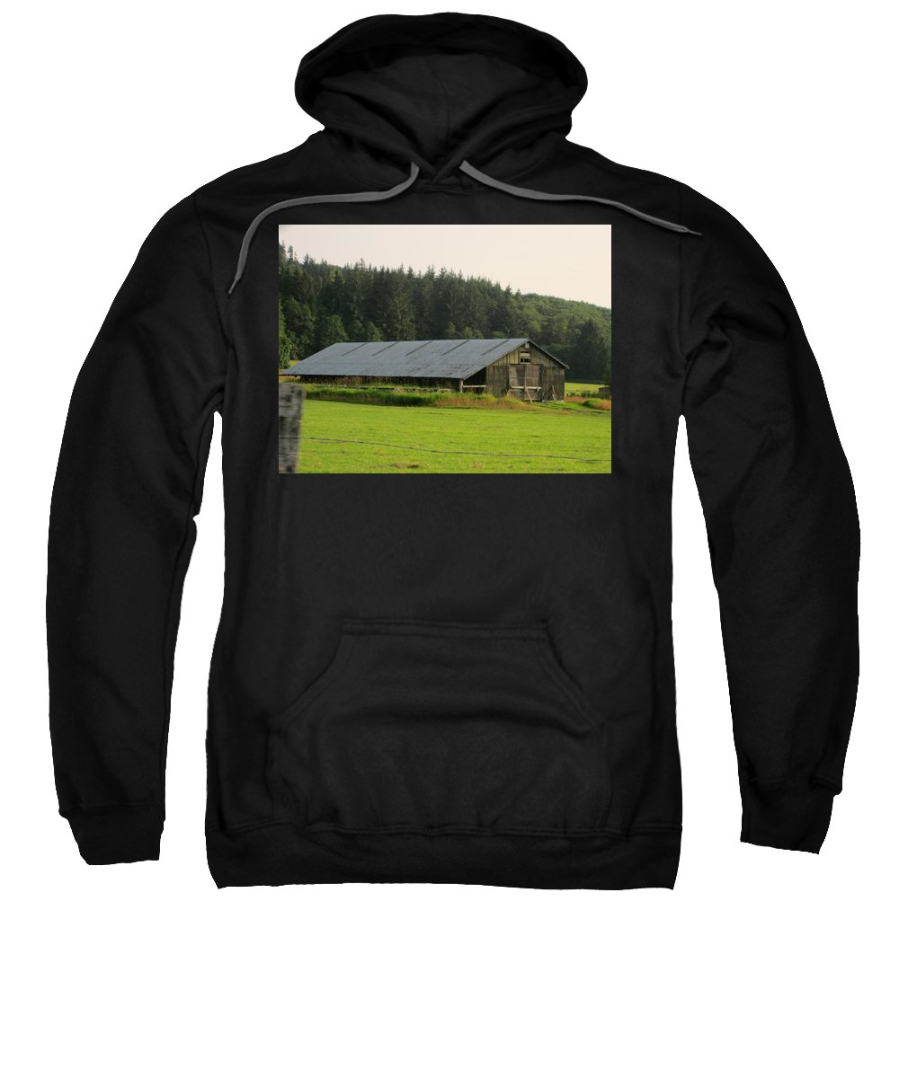 Nice Barn Sweatshirt featuring the photograph Barn And Barbwire by Kym Backland