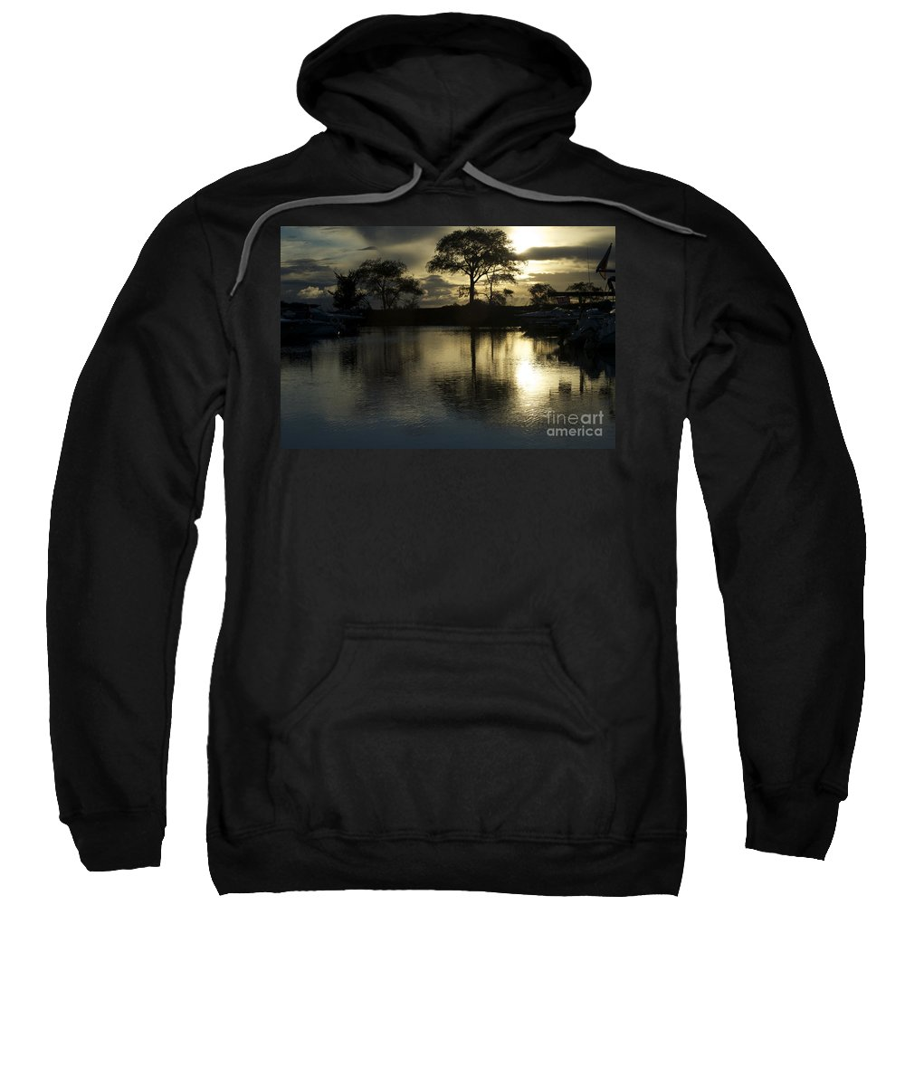 Barrie Sweatshirt featuring the photograph Barrie Harbour Sunrise by Elaine Mikkelstrup