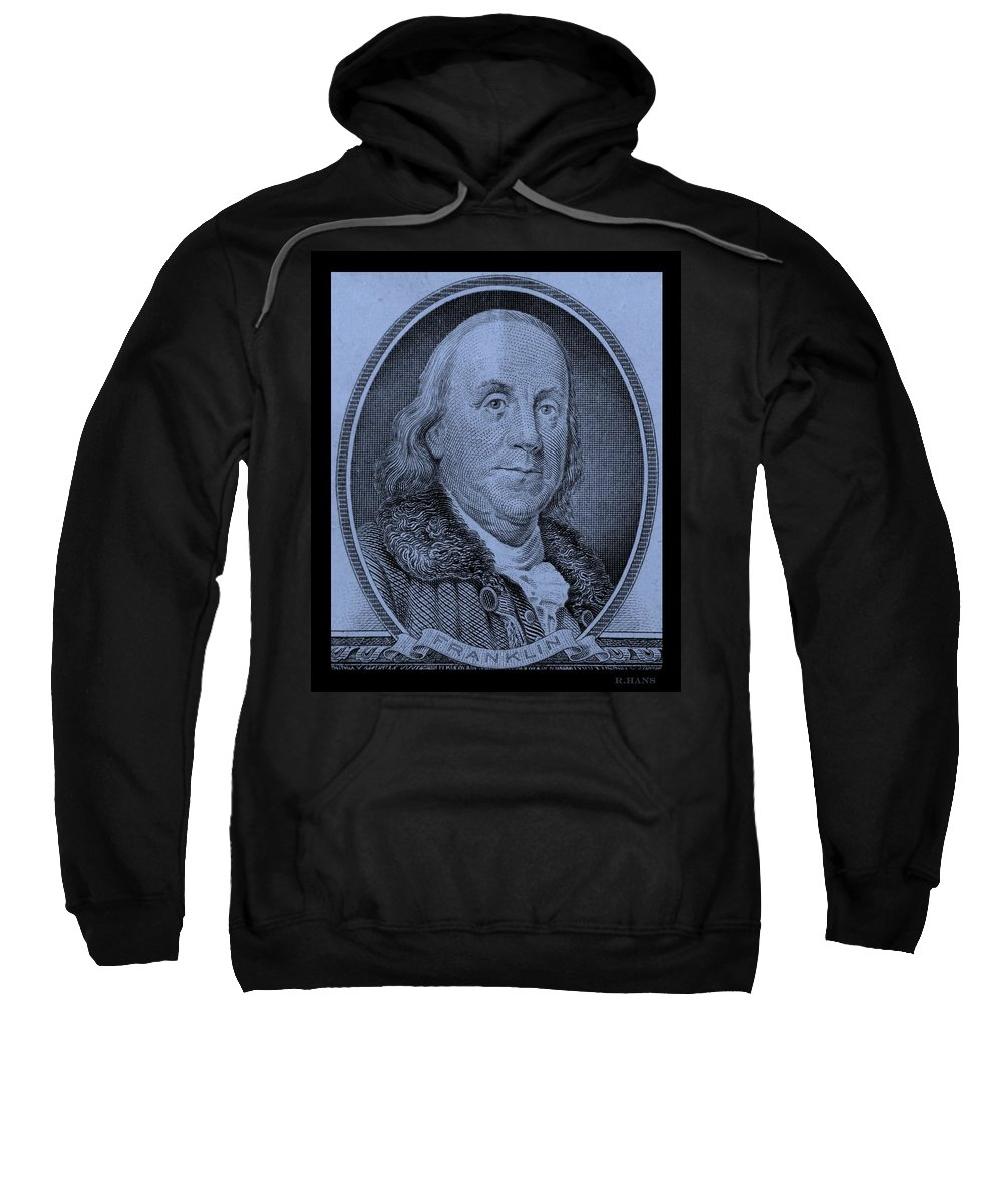 Ben Franklin Sweatshirt featuring the photograph Ben Franklin In Cyan by Rob Hans