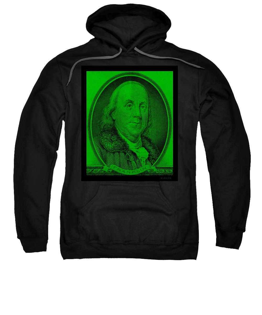 Ben Franklin Sweatshirt featuring the photograph Ben Franklin In Green by Rob Hans