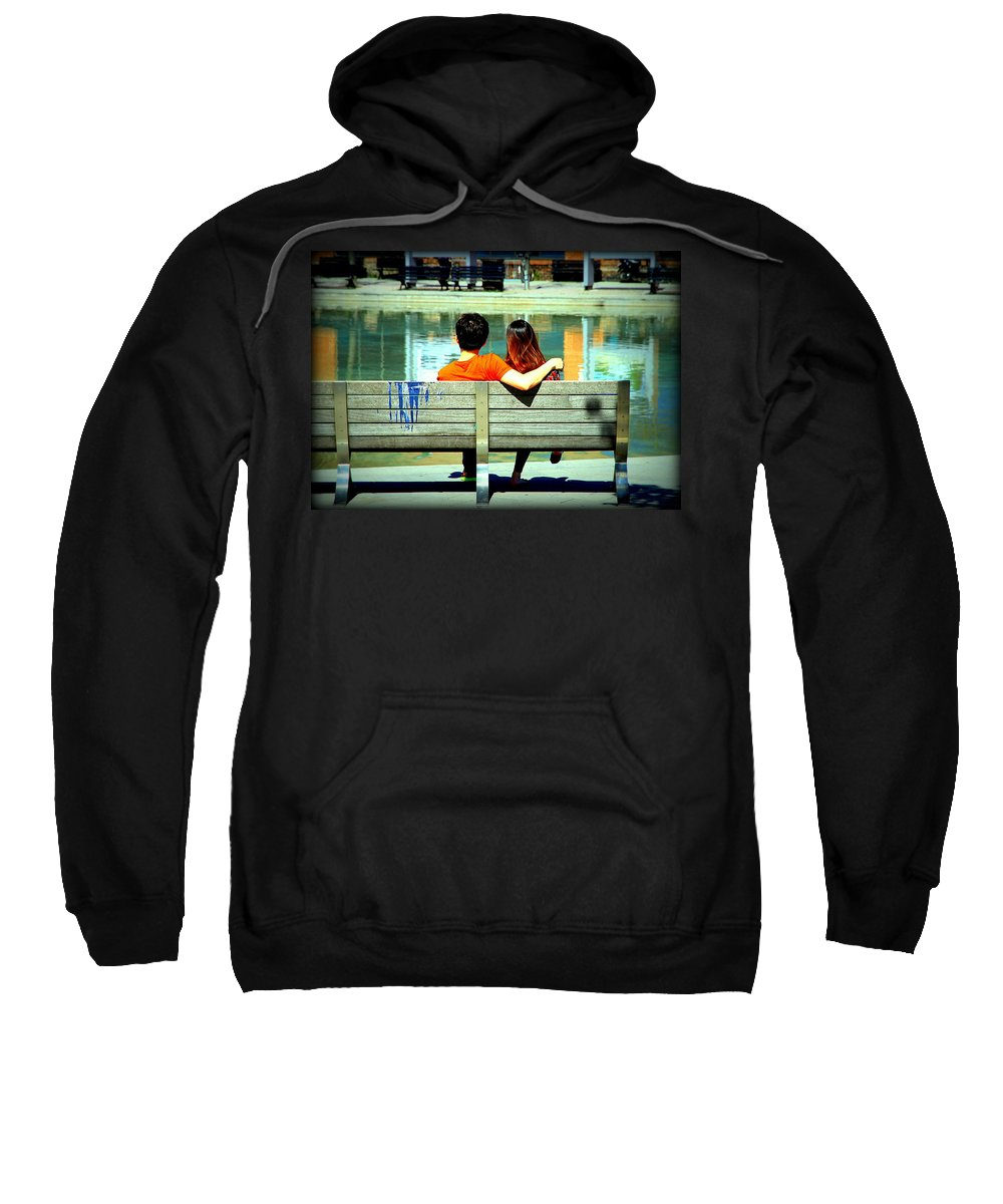 Bench Sweatshirt featuring the photograph Benchlovers by Valentino Visentini
