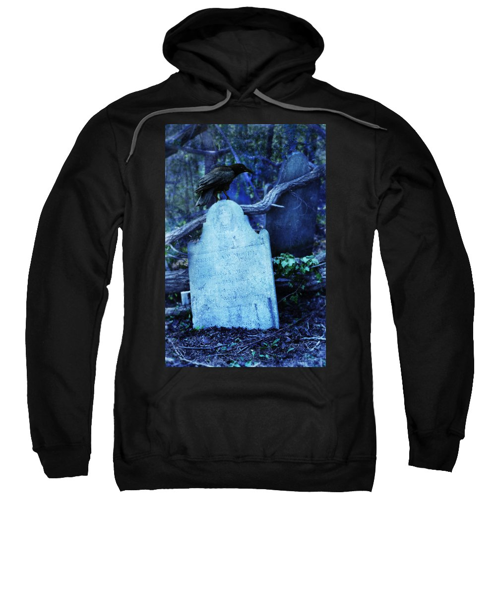 Tombstone Sweatshirt featuring the photograph Black Bird Perched On Old Tombstone by Jill Battaglia