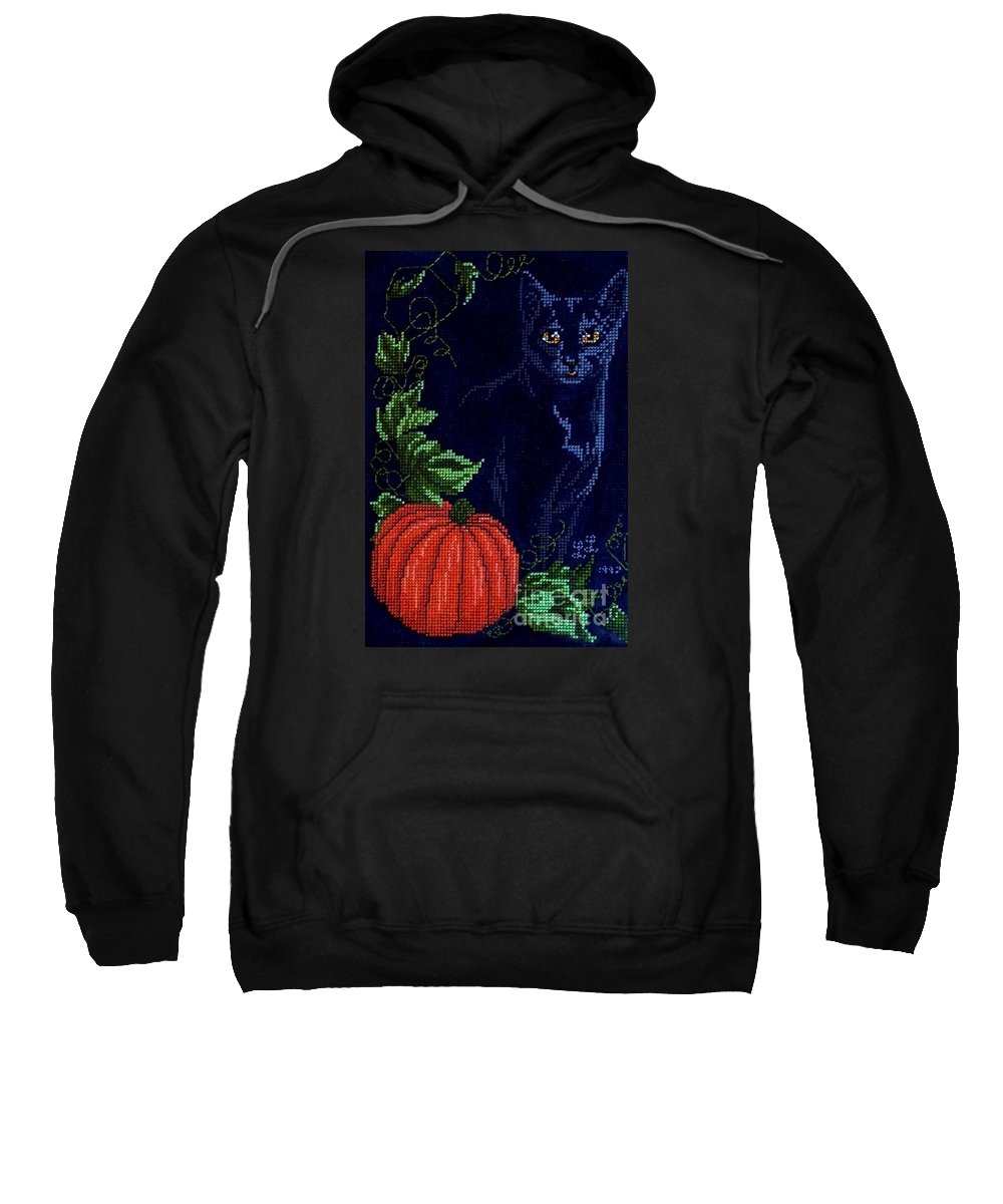 Black Cat Sweatshirt featuring the photograph Black Cat Cross Stitch by Living Color Photography Lorraine Lynch