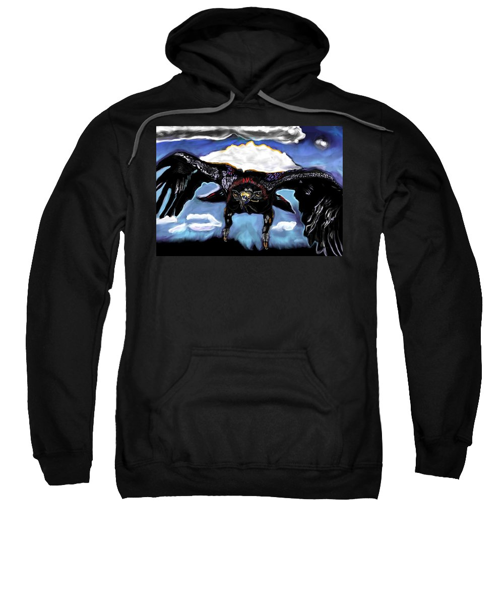 Black Hawk Down Sweatshirt featuring the painting Black Hawk Down by Herbert Renard
