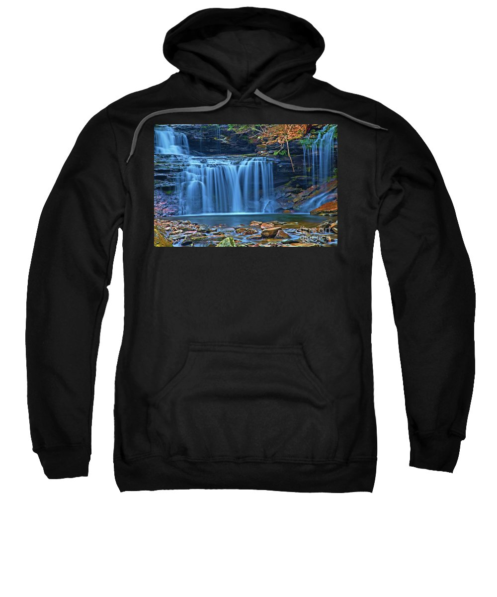 Waterfalls Sweatshirt featuring the photograph Blue Cascade Falls by Adam Jewell
