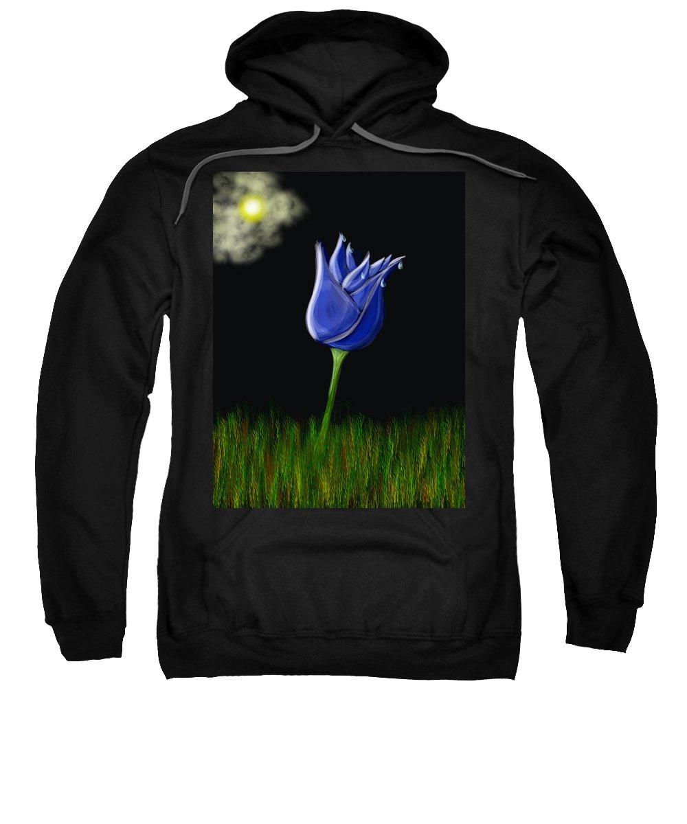 Sweatshirt featuring the digital art Blue Flowers by Mathieu Lalonde
