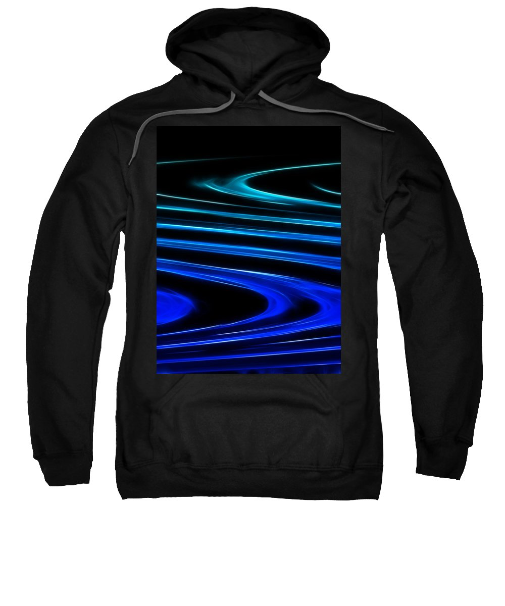 Abstract Sweatshirt featuring the digital art Blue Waves by Ricky Barnard