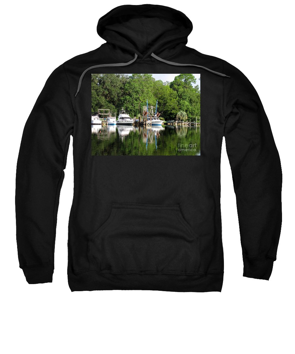 Boat Sweatshirt featuring the photograph Boats Are In by Jan Prewett