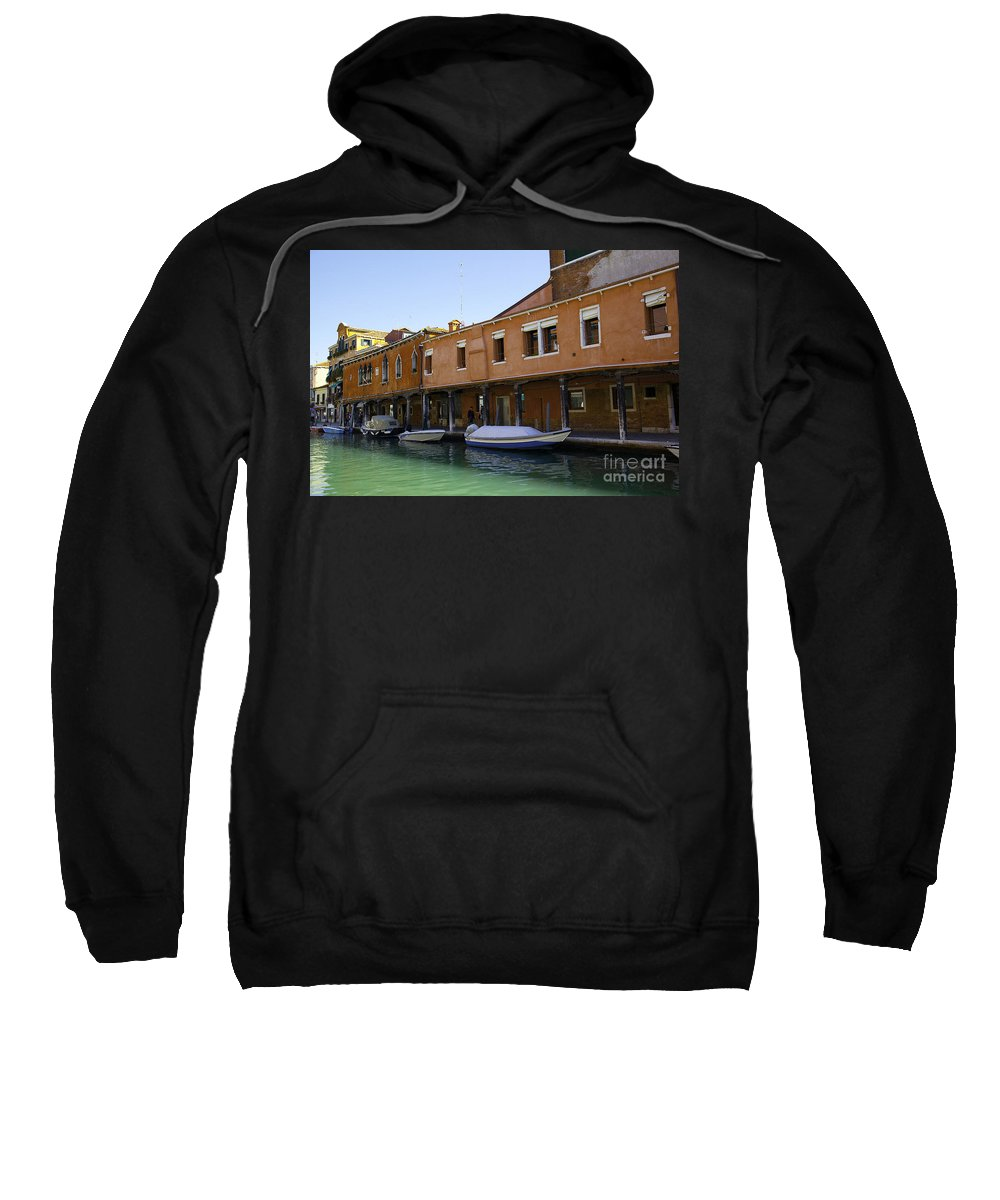 Boats Sweatshirt featuring the photograph Boats On The Canal - Venice by Madeline Ellis