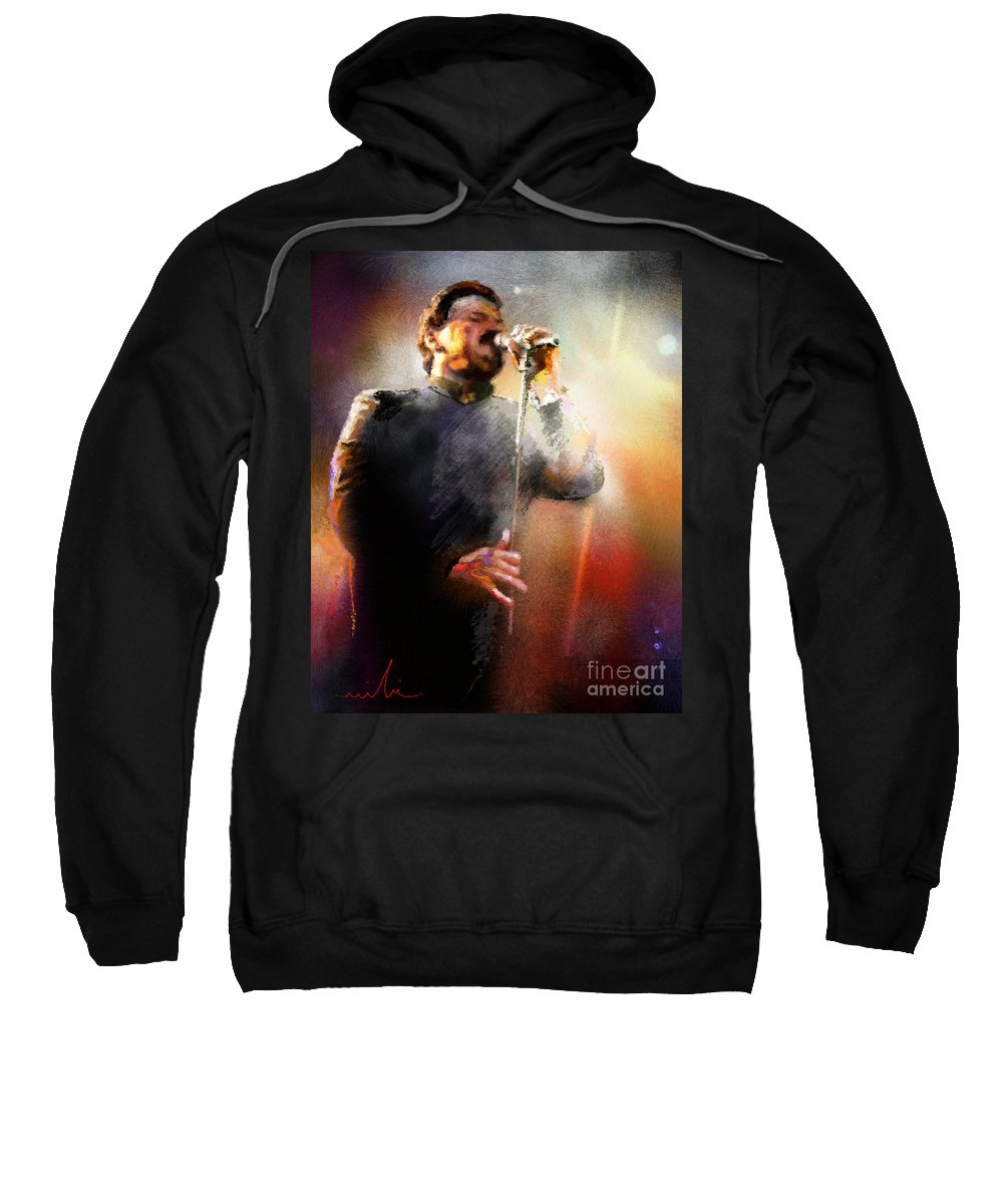 Musicians Sweatshirt featuring the painting Bobby Kimball From Toto 01 by Miki De Goodaboom