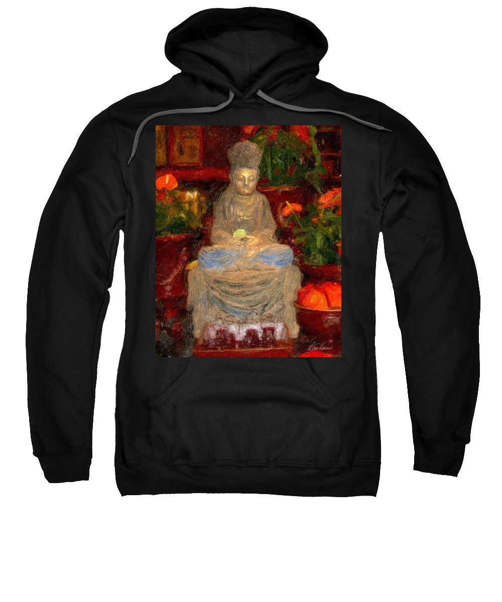 Buddha Sweatshirt featuring the photograph Buddha In Red by Diana Haronis