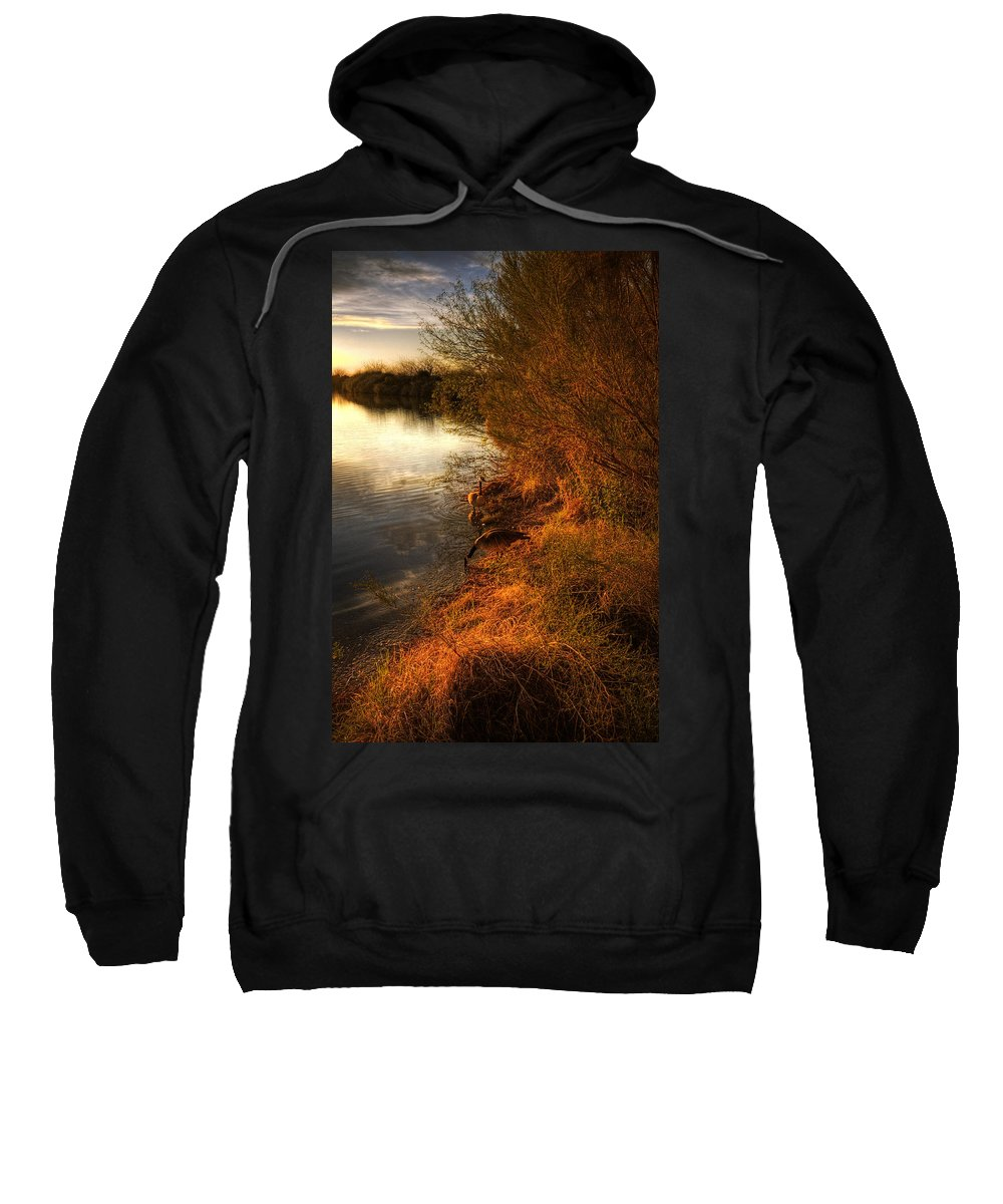 Sunset Sweatshirt featuring the photograph By The Evening's Golden Glow by Saija Lehtonen