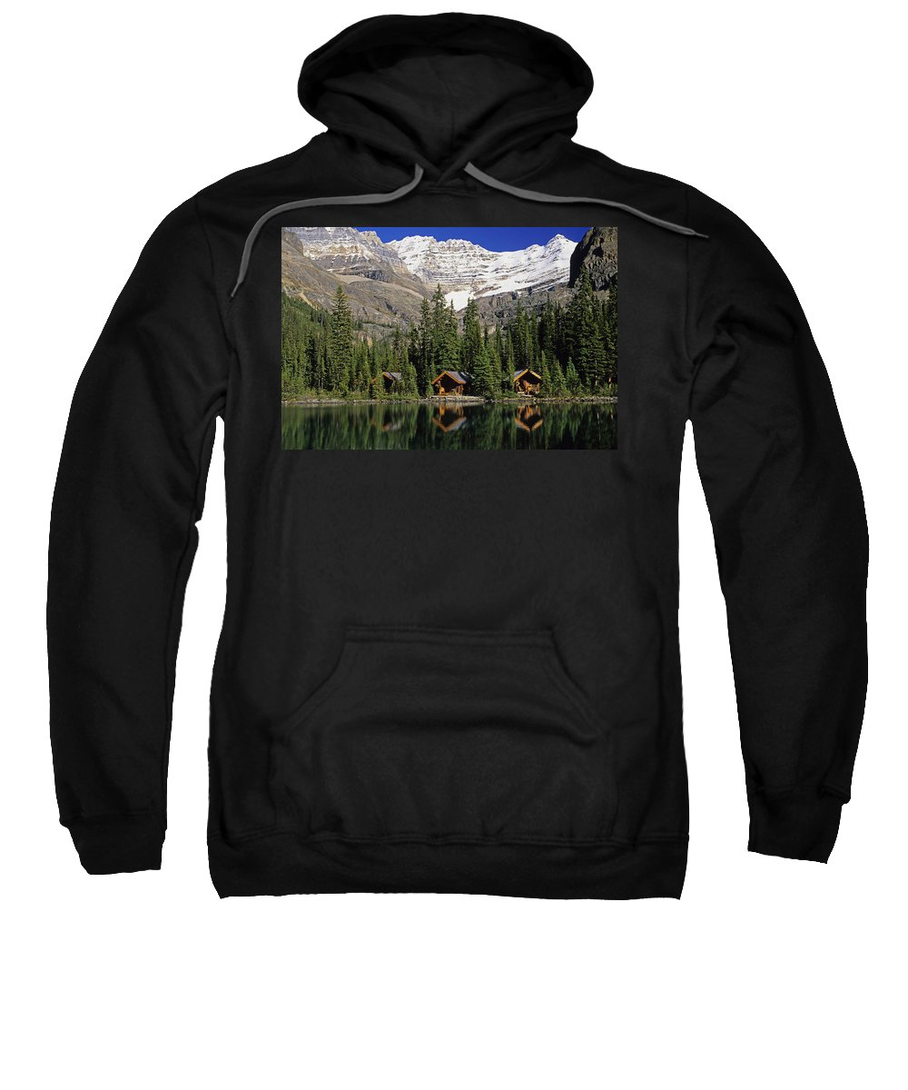 Cabins Sweatshirt featuring the photograph Cabins, Sargents Point, Lake Ohara by John Sylvester