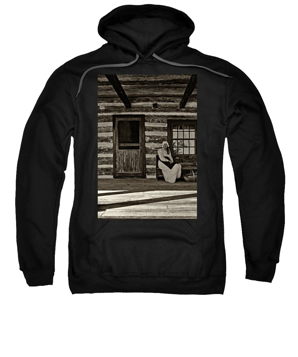 Grey Roots Museum & Archives Sweatshirt featuring the photograph Canadian Gothic Sepia by Steve Harrington