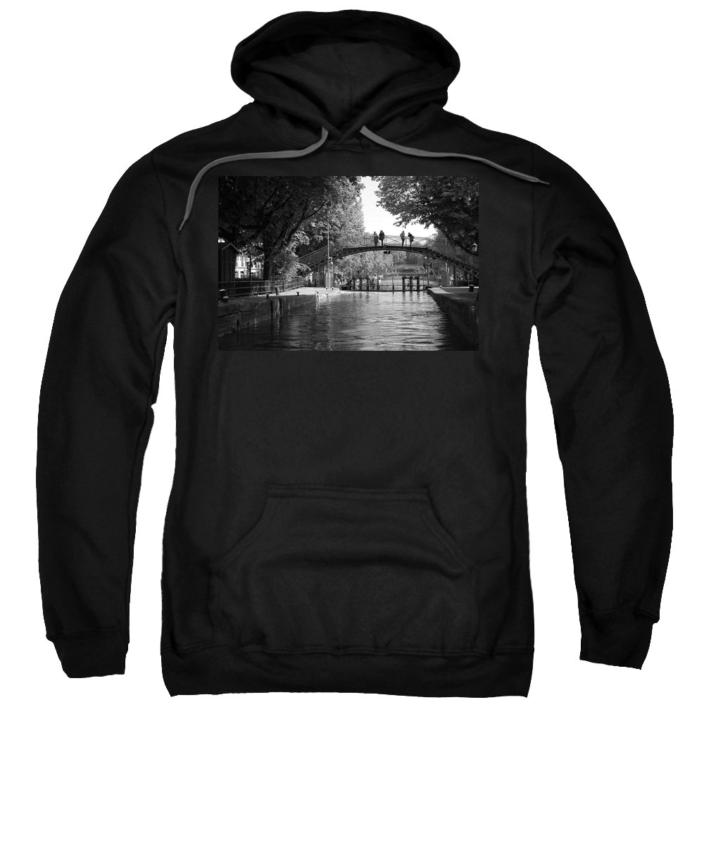 Canal Of St. Martin Sweatshirt featuring the photograph Canal Of St. Martin Bw by Eric Tressler