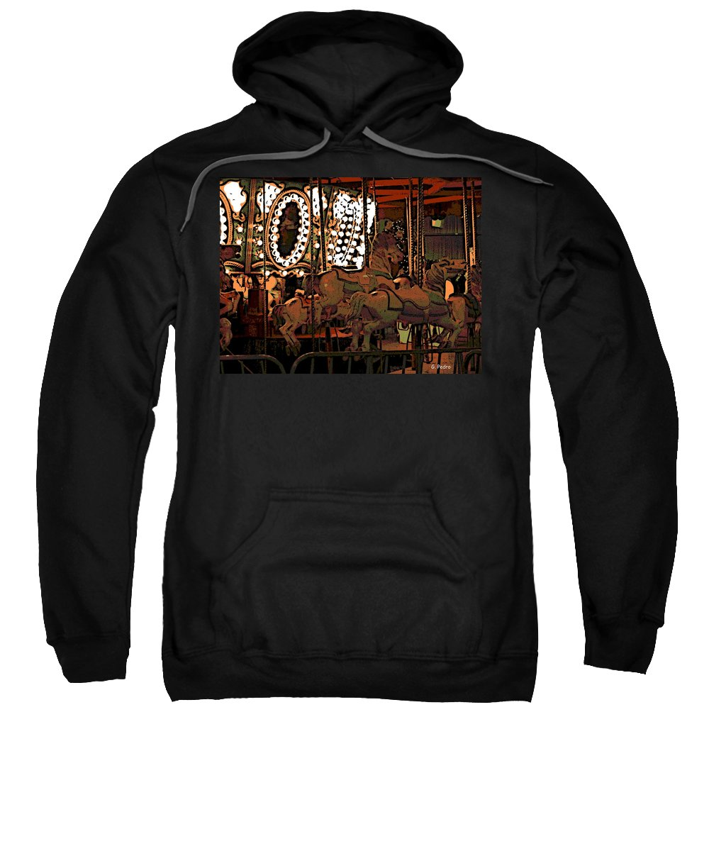 Carousel Sweatshirt featuring the photograph Carousel At Night by George Pedro