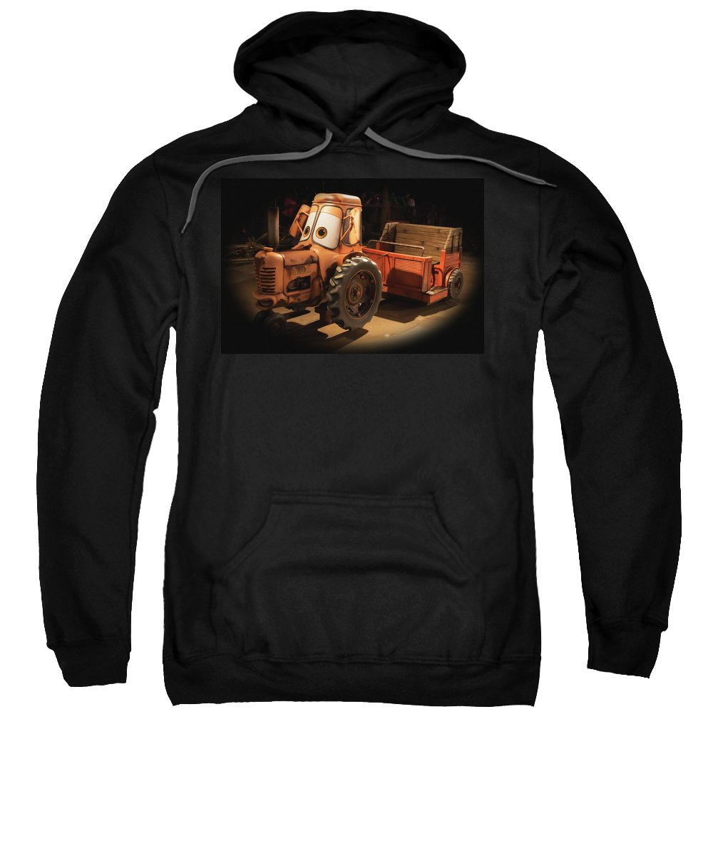 Disney Sweatshirt featuring the photograph Cars Land Cow Tractor by Heidi Smith