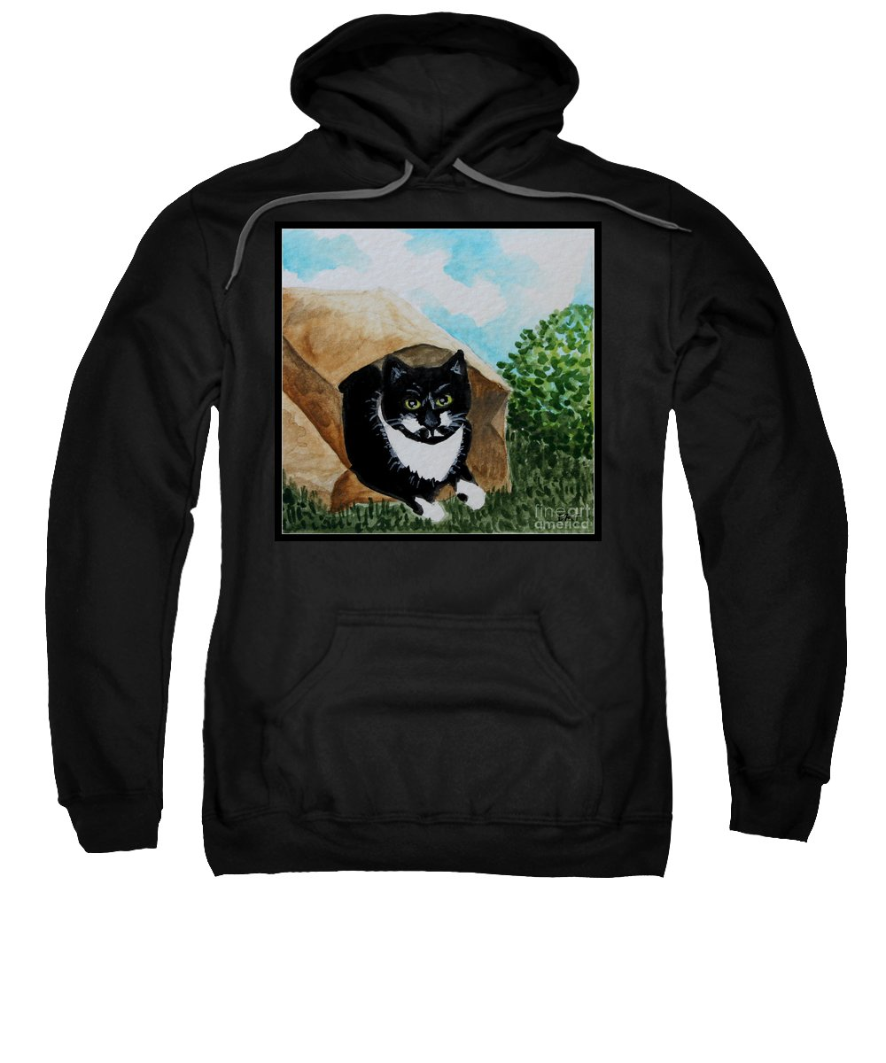 Cats Sweatshirt featuring the painting Cat In The Bag by Elizabeth Robinette Tyndall