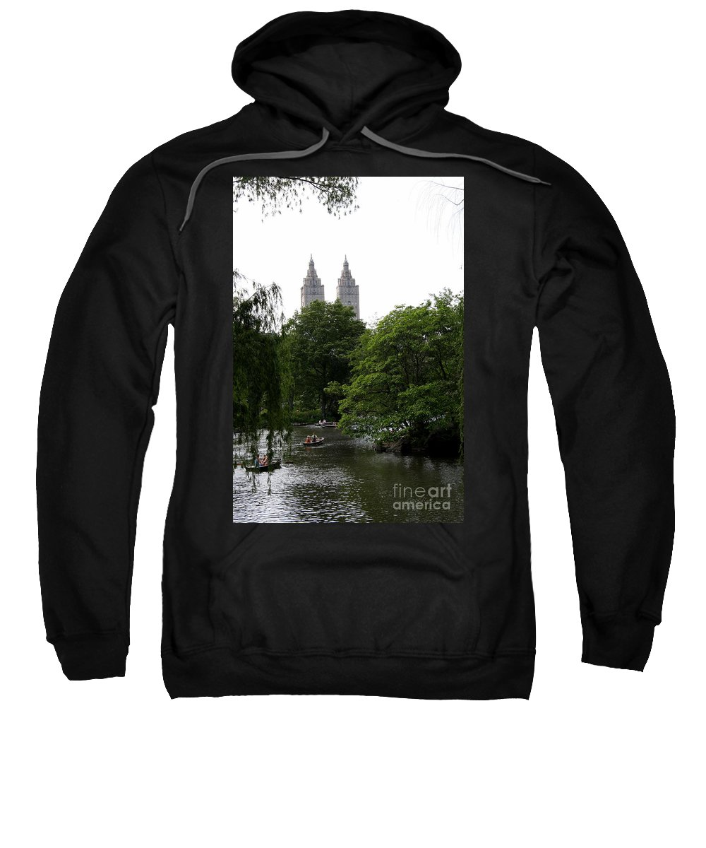 Pond Sweatshirt featuring the photograph Central Park Pond by Christiane Schulze Art And Photography