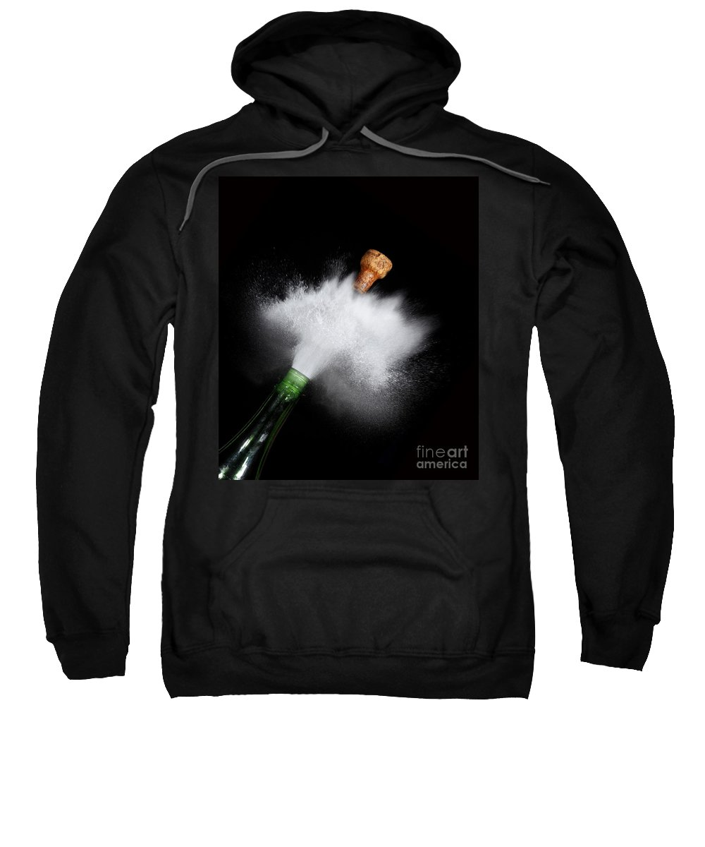 Alcohol Sweatshirt featuring the photograph Champagne Cork Popping by Ted Kinsman