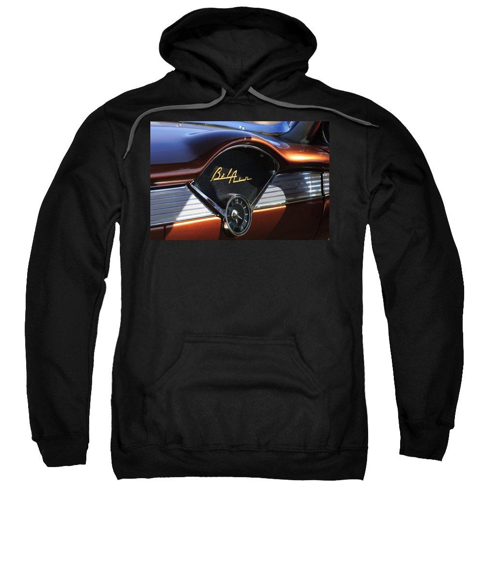 Chevrolet Belair Sweatshirt featuring the photograph Chevrolet Belair Dashboard Clock And Emblem by Jill Reger